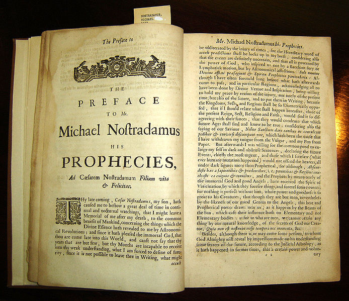 Prophecies of Nostradamus original copy held by the University of Texas San Antonio